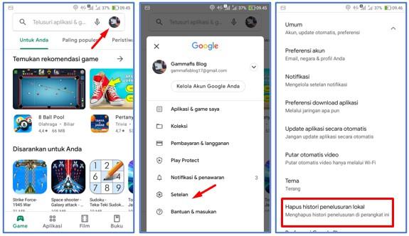 Cara Menghapus Histori Pencarian di Play Store