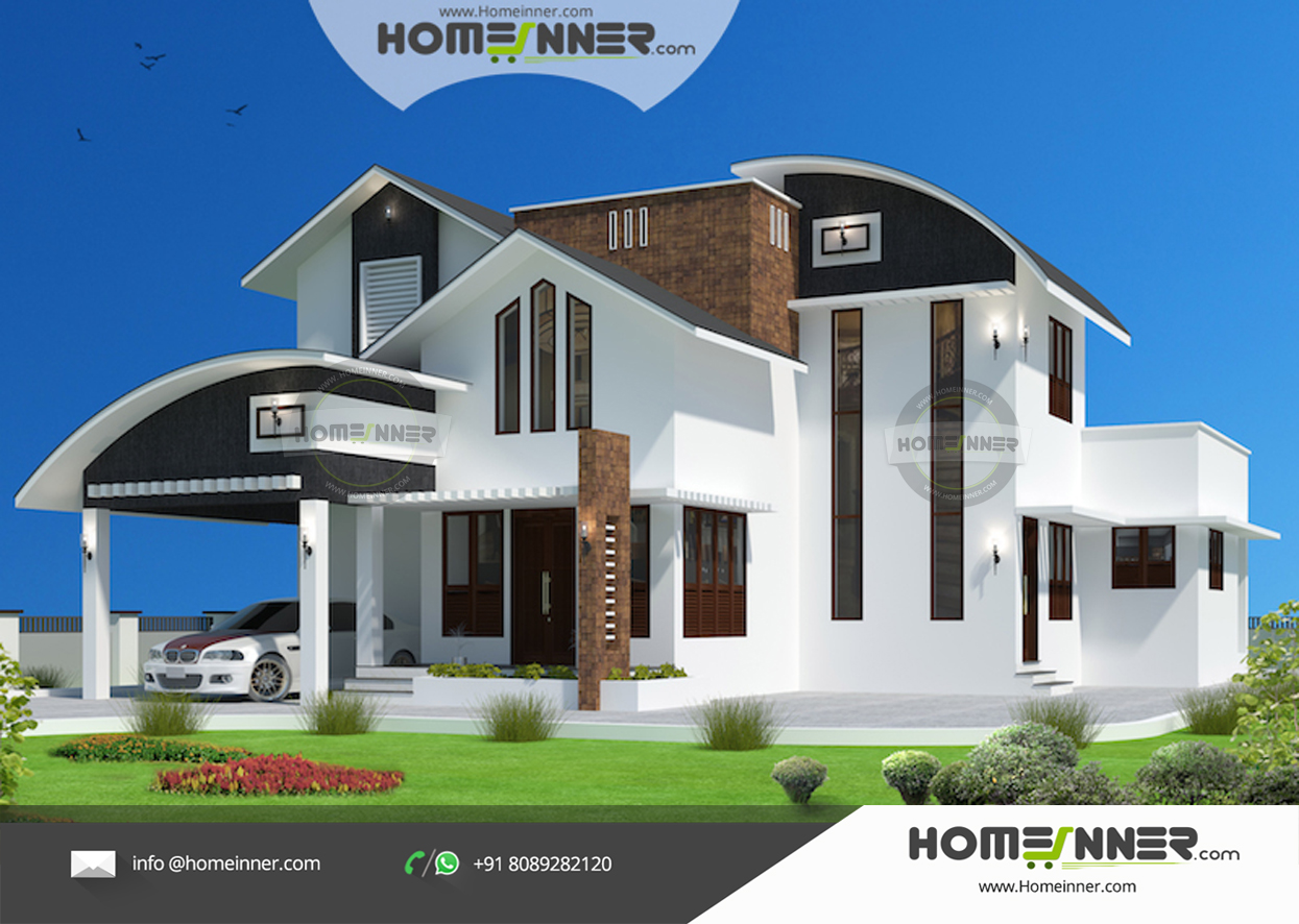 Modern Luxury 2333 sqft 4 Bhk home design with Roof light more Ventilation
