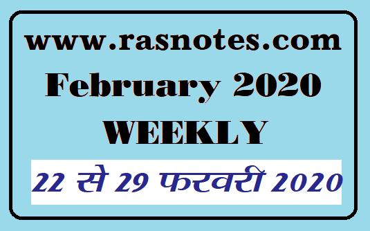 Rajasthan Current affairs in hindi pdf 22-29 February 2020 Current GK