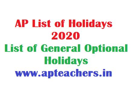 AP List of Holidays 2020 List of General Optional Holidays