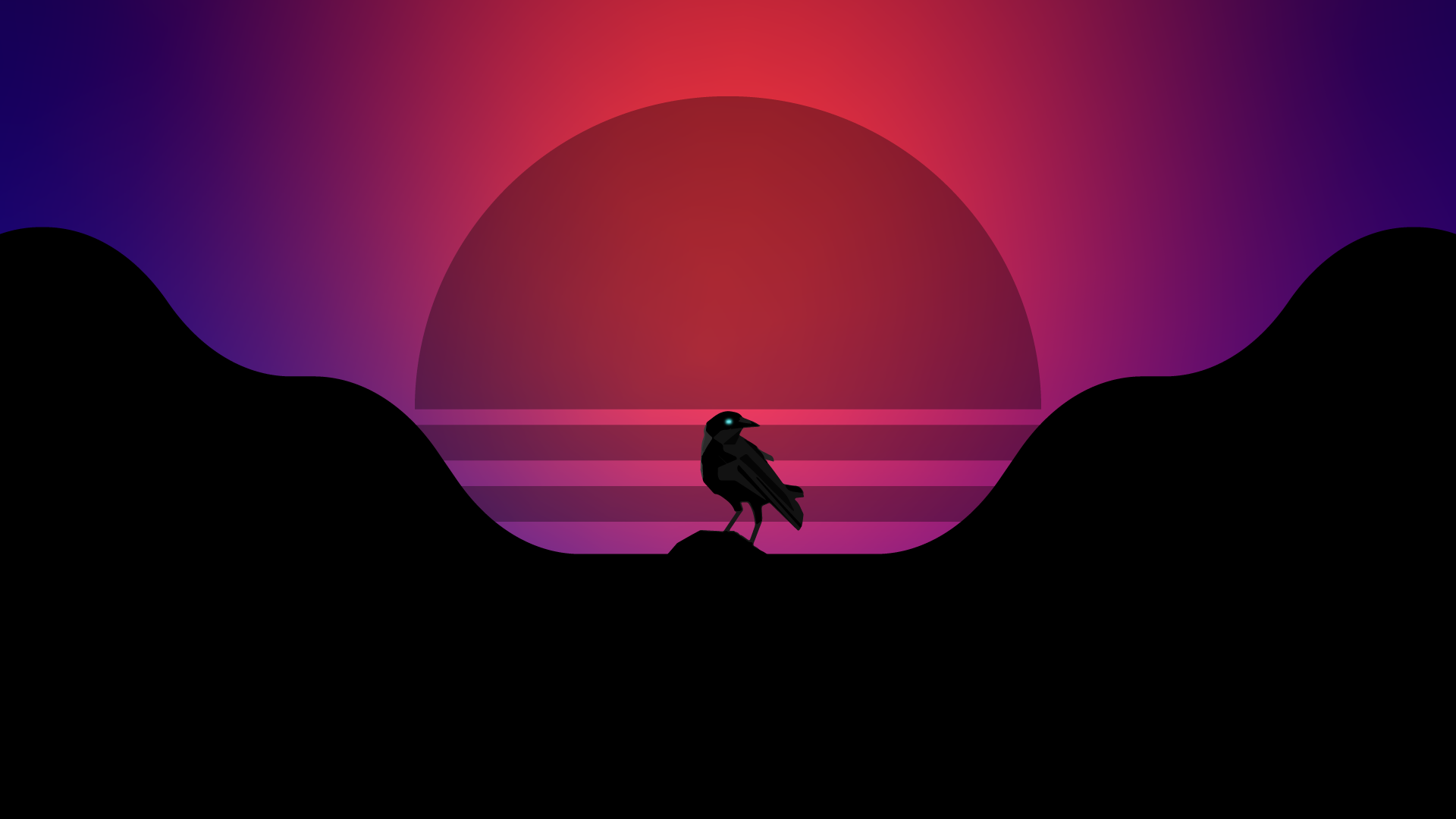 Synthwave style crow pc wallpaper 4k