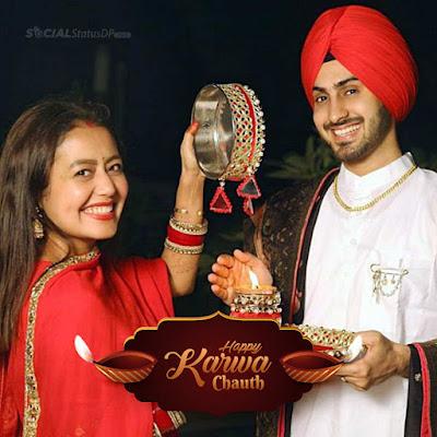 karwa chauth couple wife Sighting husband through sieve during Karwa Chauth