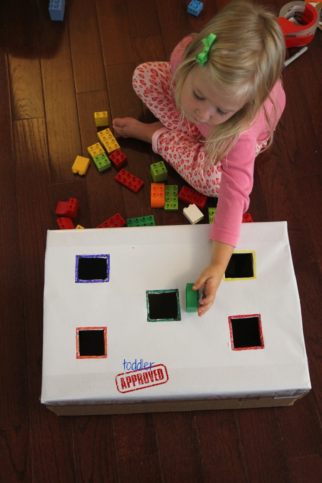 Toddler Approved Sort And Drop Color Activity With Lego Bricks