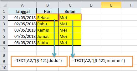 Contoh Rumus Excel Nama Hari dan Bulan Bahasa Indonesia