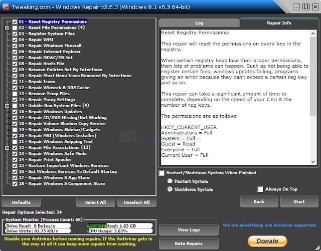 Windows Repair (All in one)- Sửa Các Lỗi Nghiêm Trọng Của Windows