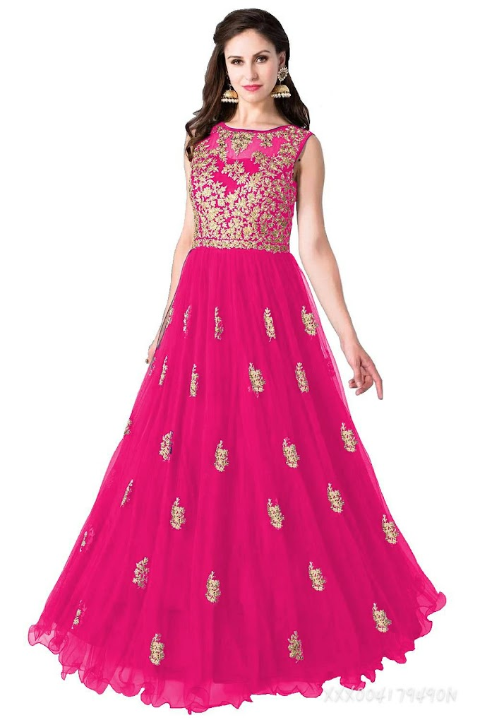 Embroidery Heavy Net gown for womans