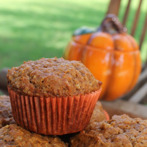 Food Lust People Love: Pumpkin and pumpkin pie spices bake to tender delight in these fragrant muffins.  Perfect for snacks or breakfast.