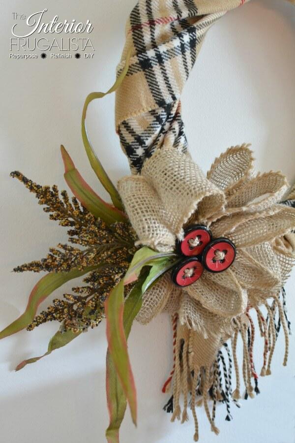 Fake Burberry Scarf Fall Wreath Burlap Bow