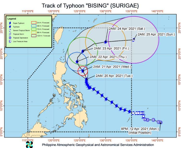 'Bagyong Bising' PAGASA track April 20