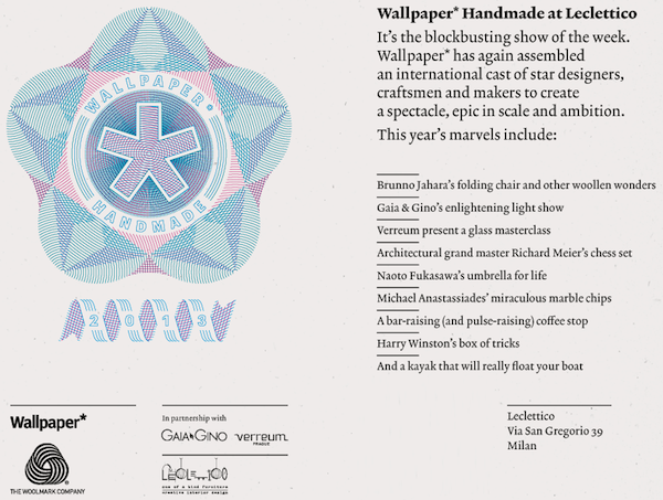 Milano Design Week 2013 - The Woolmark Company and Wallpaper Magazine presents The Wool Lab Interiors guide