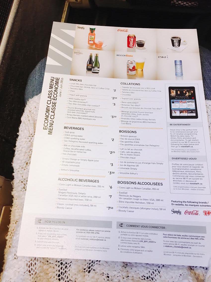 menu on Via Rail Canada