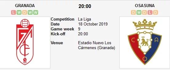 مشاهدة مباراة غرناطة وأوساسونا بث مباشر اليوم 18/10/2019