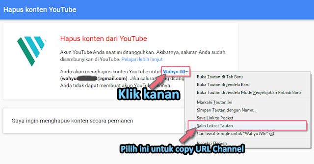 Melihat URL Channel Youtube