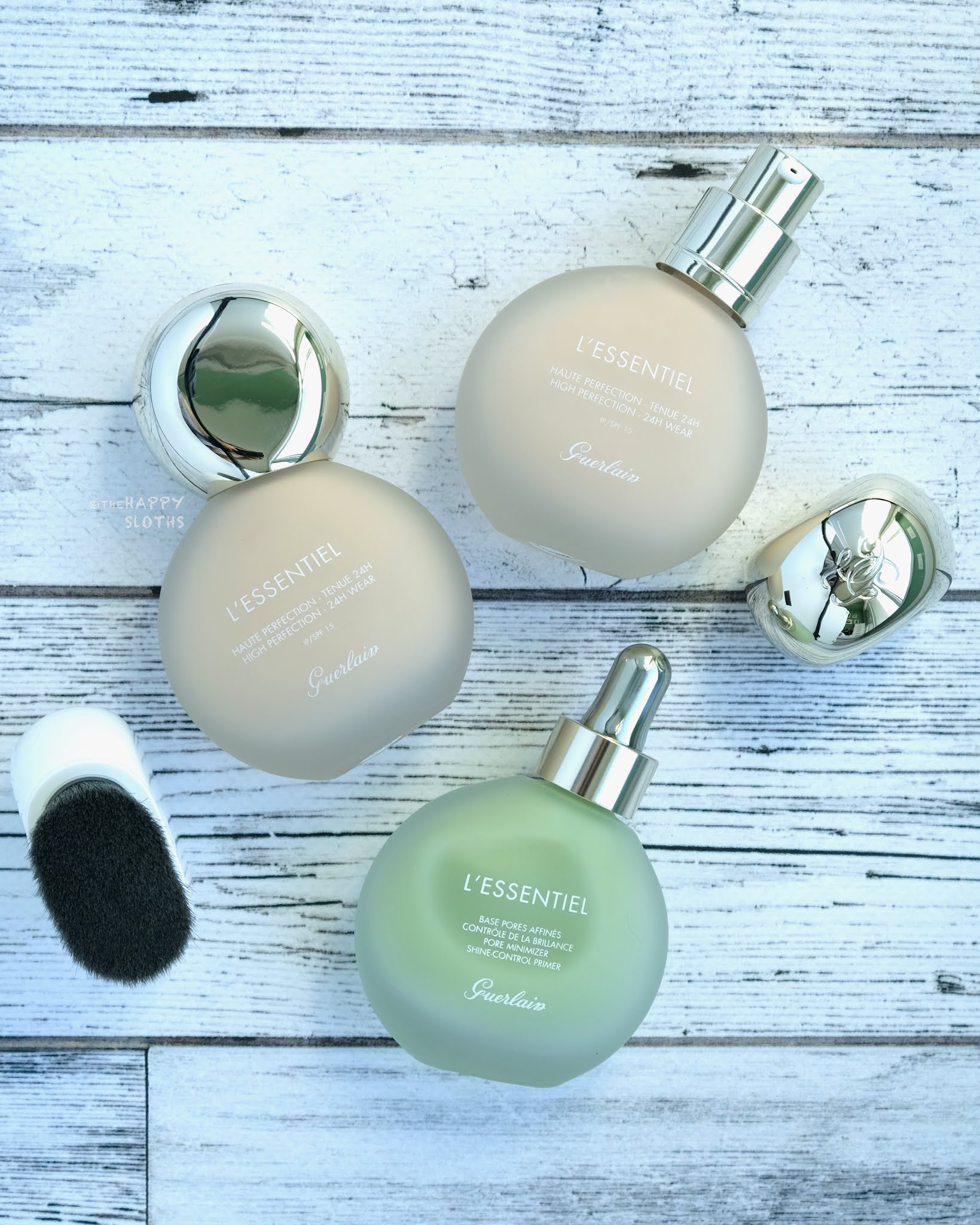 Guerlain | L'Essentiel High Perfection Foundation 24H Wear, Pore Minimizer Shine Control Primer & Retractable Foundation Brush: Review and Swatches