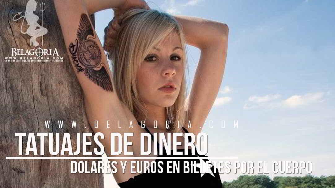 Vemos a una jovencita rubia tatuada con un dollar