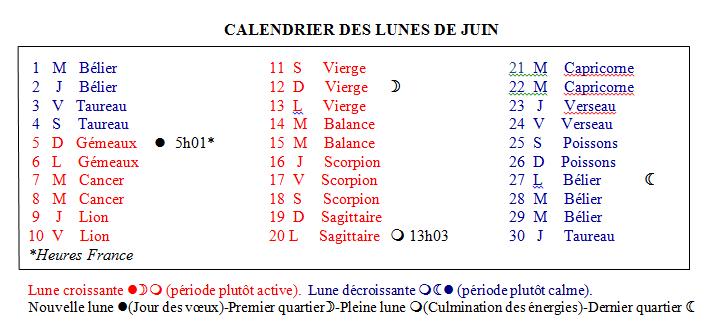 calendrier lunaire de juin 2016