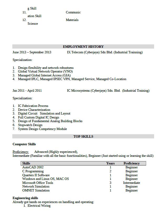 contoh resume kerja dalam bahasa melayu professional resumes
