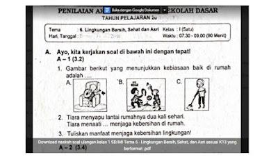 Soal Ulangan Kelas 1 Tema 6 - Lingkungan Bersih, Sehat, dan Asri