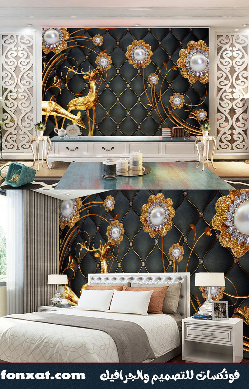 Download black wallpaper designs in the presence of shiny golden deer