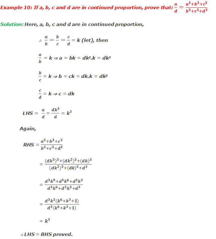 Example 10: If a, b, c and d are in continued proportion, prove that: a/d=(a^3+b^3+c^3)/(b^3+c^3+d^3 )