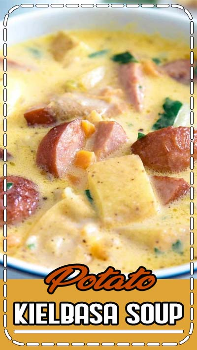 This potato kielbasa soup recipe is full of cheese, crispy sausage pieces, and potato chunks! It's a hearty and cheesy soup, perfect for lunch or dinner. Super cheesy!