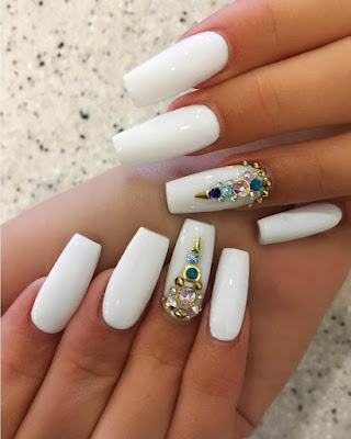 coffin nails desings rhinestones white simple