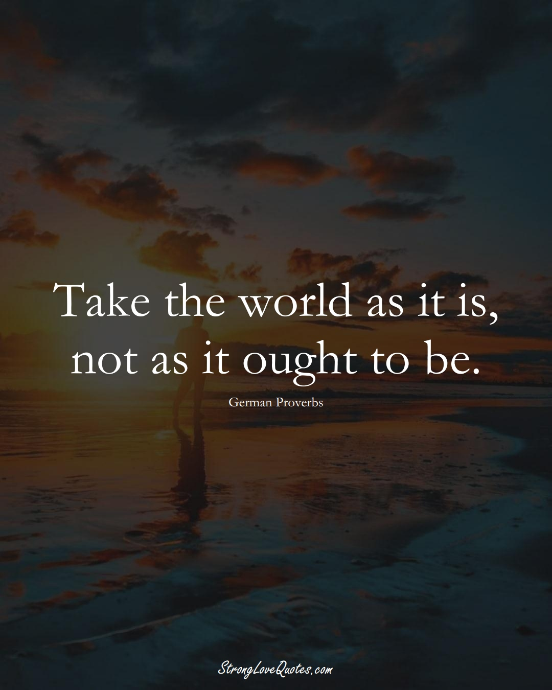 Take the world as it is, not as it ought to be. (German Sayings);  #EuropeanSayings