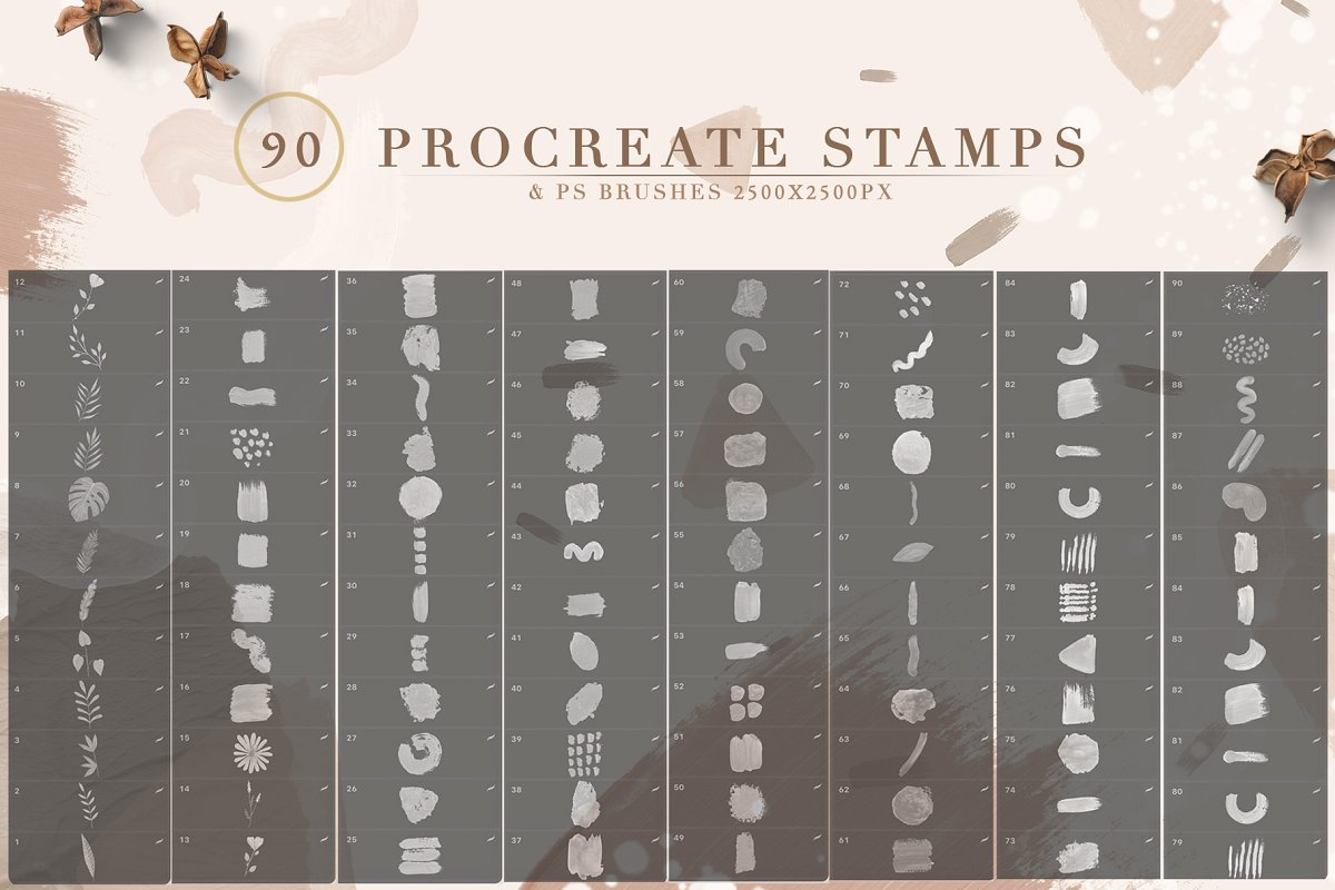 90 Procreate Stamps & Photoshop Brushes (PNG, JPG, ABR, Brushset)