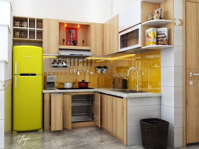 Nội thất bếp nhỏ xinh tông vàng