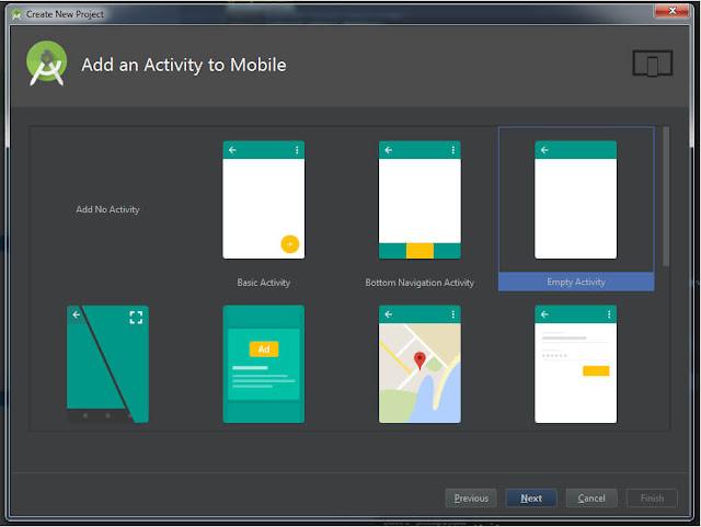 Memilih Template Aplikasi di Android Studio