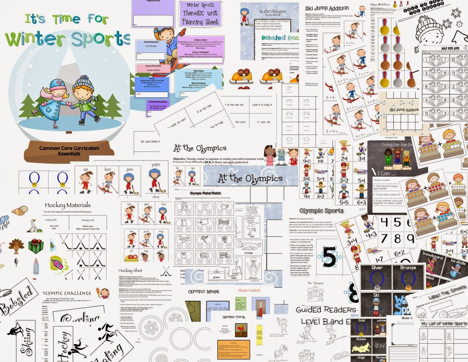 Kindergarten Kiosk Winter Olympics Common Core Thematic