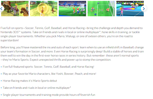Nintendo Mario Sports Superstars fact sheet description
