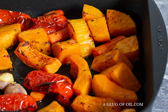 Roasted Butternut Carrots and Peppers