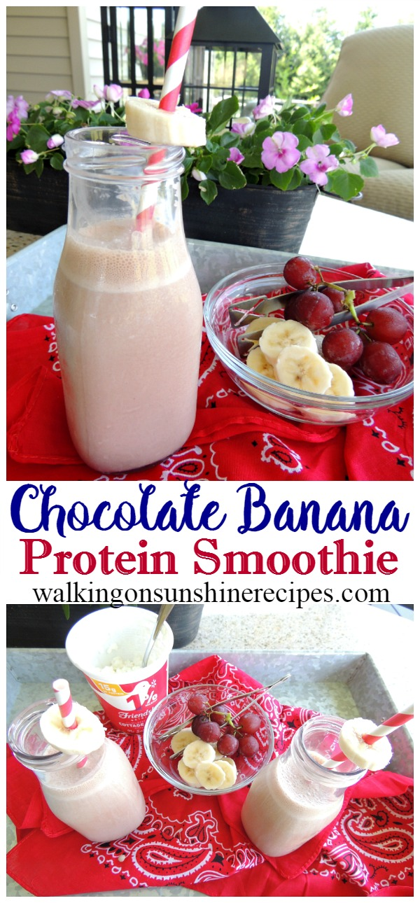 How to make the most delicious chocolate banana protein smoothie to help keep your energy up the entire day from Walking on Sunshine Recipes.