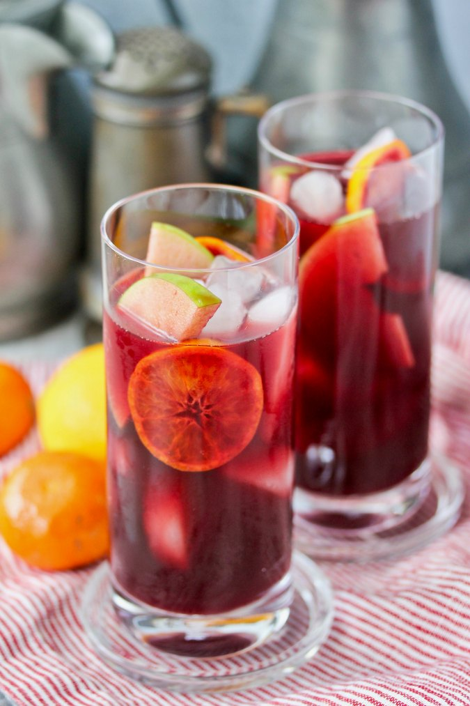 Orange Pomegranate Sangria in highball glasses