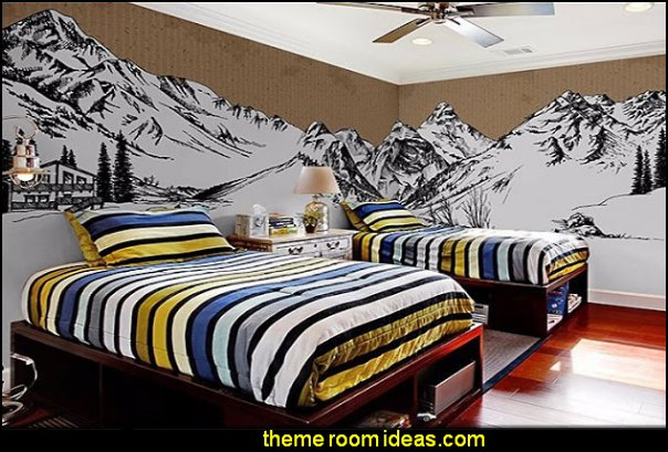 ski chalet rustic mountain lodge decorating cabin bedroom decor mountain mural