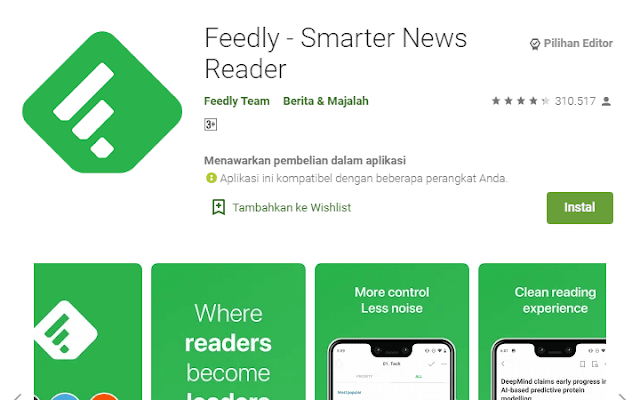 Aplikasi Feedly Smarter News Reader