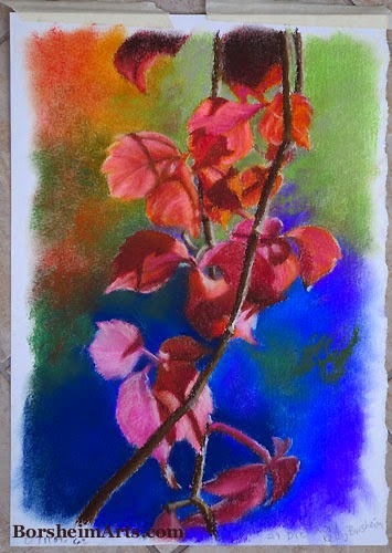 autumn leaves pastel art borsheim
