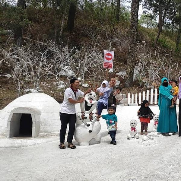 Salju Frozen di Lawu Park, Tawangmangu, Solo