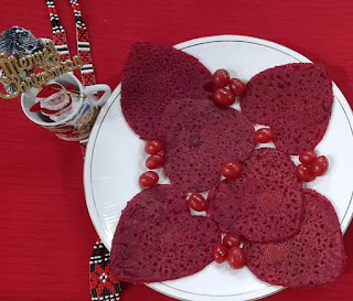 Pani Pitha (Rice flour and Beetroot pan cakes)