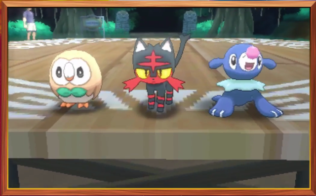 Rowlet Litten Popplio Pokémon Sun Moon version starters starting