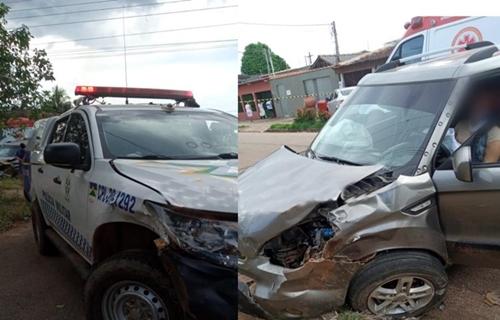 Mulher fica ferida após acidente envolvendo viatura da Polícia Militar na zona Sul