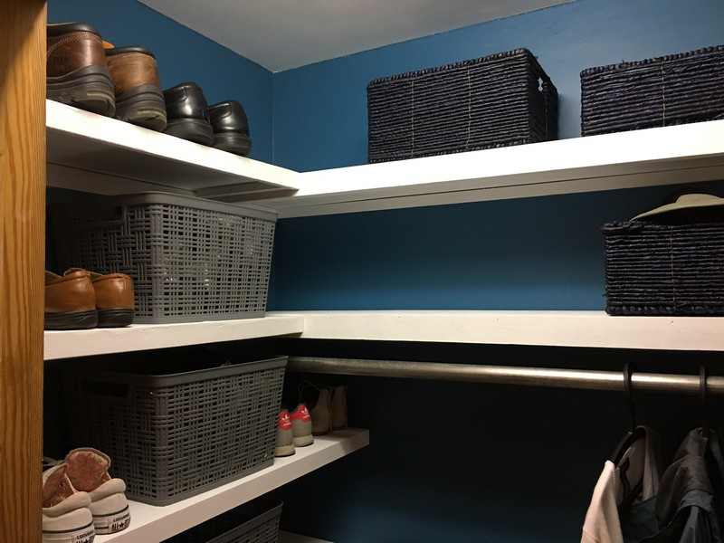 Coat Closet Mudroom Organization Makeover   $100 Room Challenge   Built in Reclaimed Shelves, Sherwin Williams Great Falls 6495, Shoes in Bins