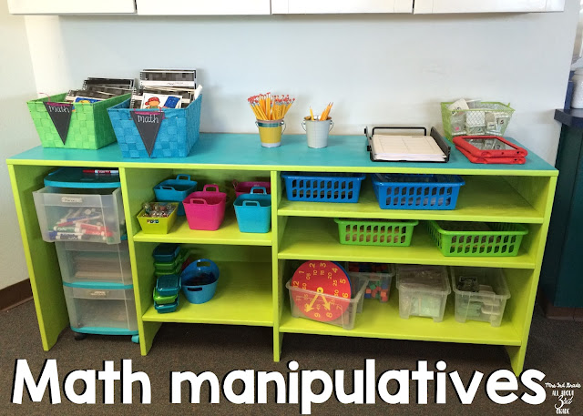 Keeping your math area clean and organized helps your students get to work quickly so they can know exactly where things are.