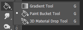 Gradient dan Paint Bucket Tool Toolbox Adobe Photoshop