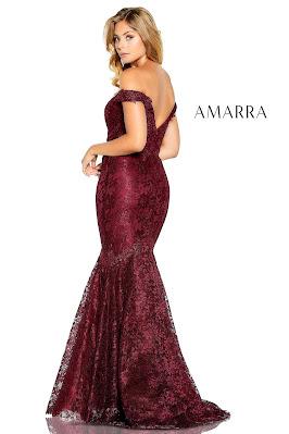 Amarra Beaded lace off the shoulder dark red color dress back side