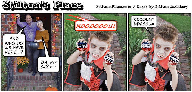 stilton's place, stilton, political, humor, conservative, cartoons, jokes, hope n' change, trump, biden, debate, election, recount, halloween, recount dracula