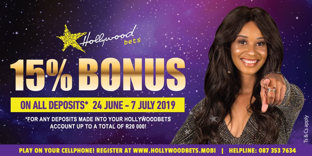Hollywoodbets 15% Bonus on all deposits - 24 June to 7 July 2019 - Terms and Conditions Apply