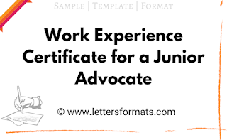 experience certificate format for junior advocate