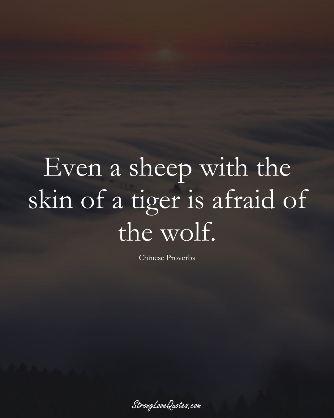 Even a sheep with the skin of a tiger is afraid of the wolf. (Chinese Sayings);  #AsianSayings